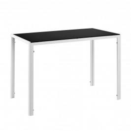 Štýlový dizajnový jedálenský stôl - sklenený stôl - 105 x 60 x 75 cm - bielo-čierny