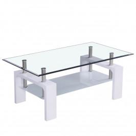 CORIUM® Sklenený konferenčný stolík, 1100 x 600 x 450 mm, biely