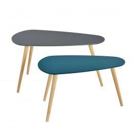 Sada stolíkov - konferenčných stolíkov - 2 kusy sivý / tyrkysový