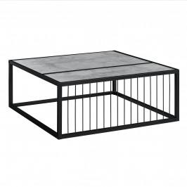 Moderný konferenčný stolík - MDF doska - kovový rám - imitácia betónu - 75 x 75 x 30 cm