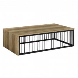 Moderný konferenčný stolík - MDF doska - kovový rám - imitácia dreva - 100 x 60 x 30 cm