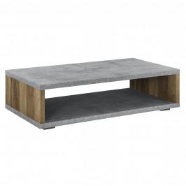 Moderný konferenčný stolík - MDF doska - kovový rám - imitácia dreva/betónu - 110 x 60 x 30 cm