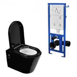 Moderné závesné keramické WC (čierne) s nádržkou na vodu