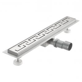 Nerezový podlahový žľab – moderný odtok do sprchy - grécky vzor -  (60x7cm)