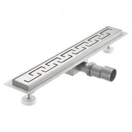Nerezový podlahový žľab – moderný odtok do sprchy - grécky vzor -  (90x7cm)