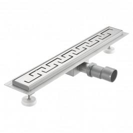 Nerezový podlahový žľab – moderný odtok do sprchy - grécky vzor -  (100x7cm)