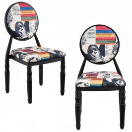 Dizajnová stolička - 2 ks sada - čierna