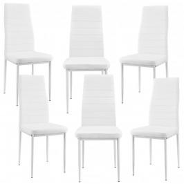 Čalúnená koženková stolička - 6 kusová sada - biela