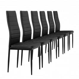 Čalúnená koženková stolička - 6 kusová sada - čierna
