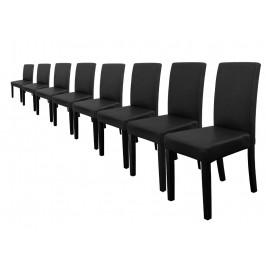 Elegantné čalúnené stoličky - 8 ks - čierne