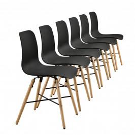 Dizajnová stolička - 6 ks sada - 80 x 44,5 cm - čierna