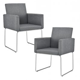 Dizajnová stolička - 2 ks sada - 82,5 x 54 cm - tmavo sivá