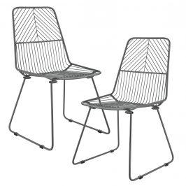 Sada dizajnových kovových stoličiek - 2 kusy - tmavo sivé