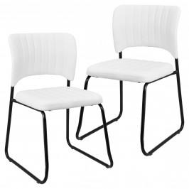 Sada dizajnových koženkových stoličiek - 2 kusy - 78 x 45,7 cm - biele