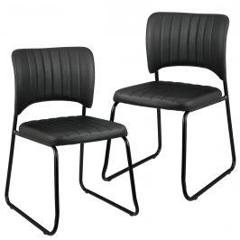 Sada dizajnových koženkových stoličiek - 2 kusy - 78 x 45,7 cm - čierne