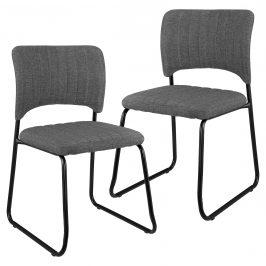 Sada dizajnových koženkových stoličiek - 2 kusy - 78 x 45,7 cm - tmavo sivé