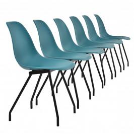 Sada dizajnových stoličiek - 6 kusov - tyrkysové