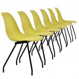 Sada dizajnových stoličiek - 6 kusov - muštárovo žlté