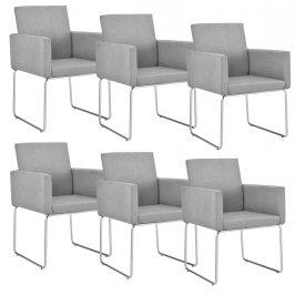 Dizajnová stolička - 6 ks sada - 82,5 x 54 cm - svetlo sivá