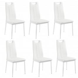 Čalúnená koženková stolička - 6 ks - biela
