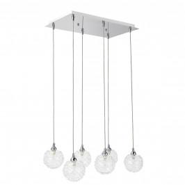 Dekoratívna dizajnová design závesná lampa / stropná lampa - chrómovo-strieborná (6 x G9)
