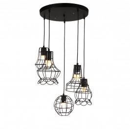 Dekoratívna dizajnová design závesná lampa / stropná lampa - čierna (5 x E27)