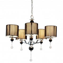 Elegantný luster – päťramenná stropná lampa – 5 x E14 - chrómová, čierna
