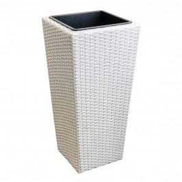Pletený kvetináč - 31x31x64cm - biely