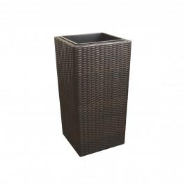 Pletený kvetináč - 18x18x33cm - hnedý