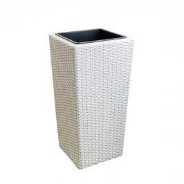 Pletený kvetináč - 26x26x50 cm - biely