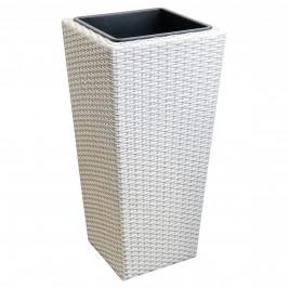 Pletený kvetináč - 40x40x78cm - biely