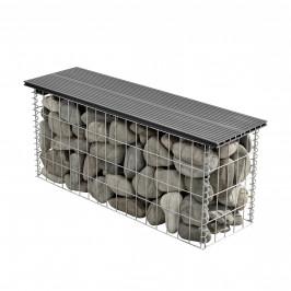 Gabión lavička - 100 x 30 x 45 cm - svetlo hnedá