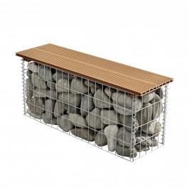 Gabión lavička - 100 x 30 x 45 cm - sivá