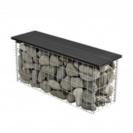 Gabión lavička - 100 x 30 x 45 cm - čierna