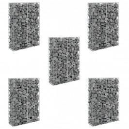 [pro.tec]®Stena z gabionov - Kamenné Košíky 5 kusov,150 x 100 x 30 cm,10 cm x 5 cm,šedá / strieborná