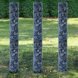 Gabión - 3 ks sada - 25 x 25 x 200 cm, 25 x 25 x 200 cm, 25 x 25 x 200 cm - šedá / strieborná