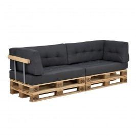 Paletový nábytok - sada 2x sedák + 2x vankúš + 2x bočný vankúš - tmavo sivá