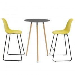Okrúhly barový stôl - Ø 70 cm + sada 2 stoličiek - muštárovo žlté
