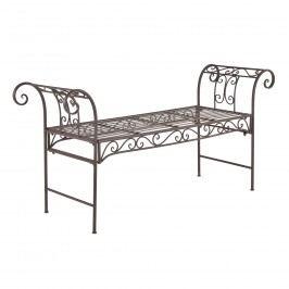 Kovová záhradná lavička - 70 x 147 x 46 cm - hnedá