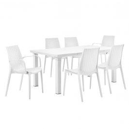 Ratanový záhradný stôl so 6 stoličkami - biely