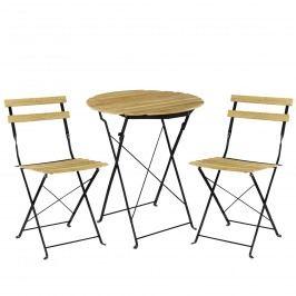 Bistro sada - okrúhly stôl + 2 stoličky - imitácia dreva