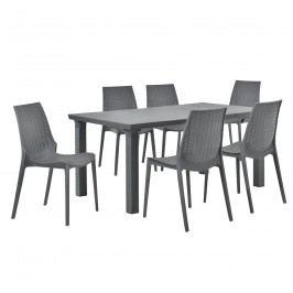 Zahradný stôl so 6 stoličkami - sivý
