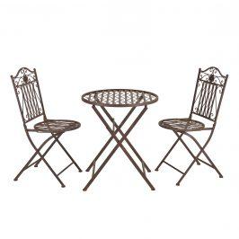 Bistro sada - okrúhly stôl + 2 stoličky - hnedá
