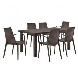 Zahradný stôl so 6 stoličkami - hnedý