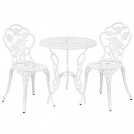 [casa.pro] Záhradná / bistro sada - stolík + 2 x stolička - biela