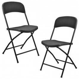 Kempingové stoličky - 2 ks - 47 x 39 x 87 cm - tmavo šedé