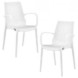 Sada záhradných stoličiek - 2 ks - 89 x 44 x 55,5 cm - biele