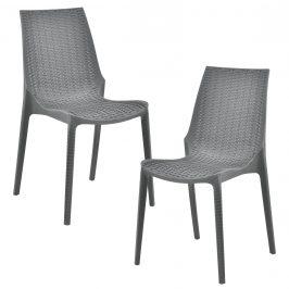 Sada záhradných stoličiek - 2 ks - 89 x 44 x 55,5 cm - tmavo sivé