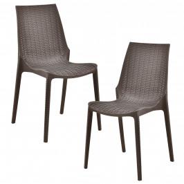 Sada záhradných stoličiek - 2 ks - 89 x 44 x 55,5 cm - hnedé