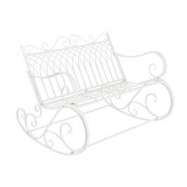 Kovové hojdacie kreslo - 85 x 113 x 95 cm - biele